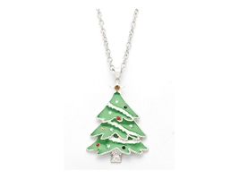 Silvertone Enamel Holiday Christmas Tree Pendant Necklace - $14.95