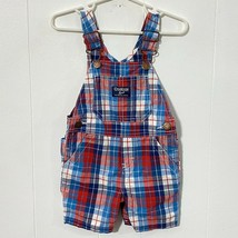 Oshkosh Bgosh Vestbak Boys 12 Months PLAID Overalls SHORTALLS Blue Red - $15.19
