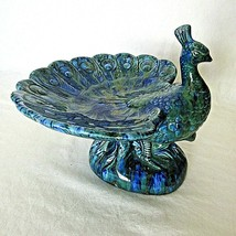 Vintage Peacock Footed Dish Figurine Holland Mold Ceramic Blue Green 197... - $29.69
