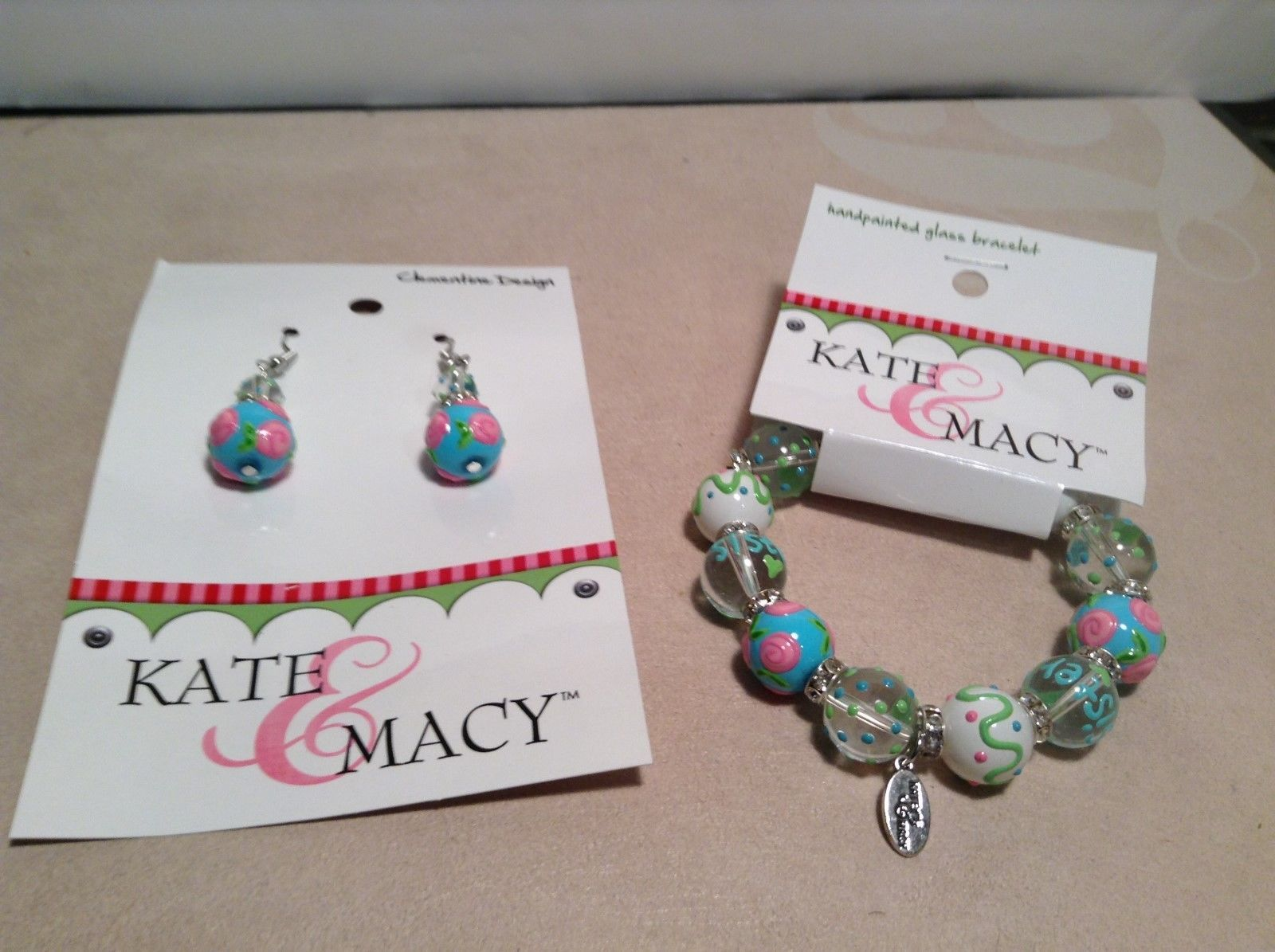 NEW Kate & Macy Hand Painted Glass Bracelet/Earring Sisters Forever Set
