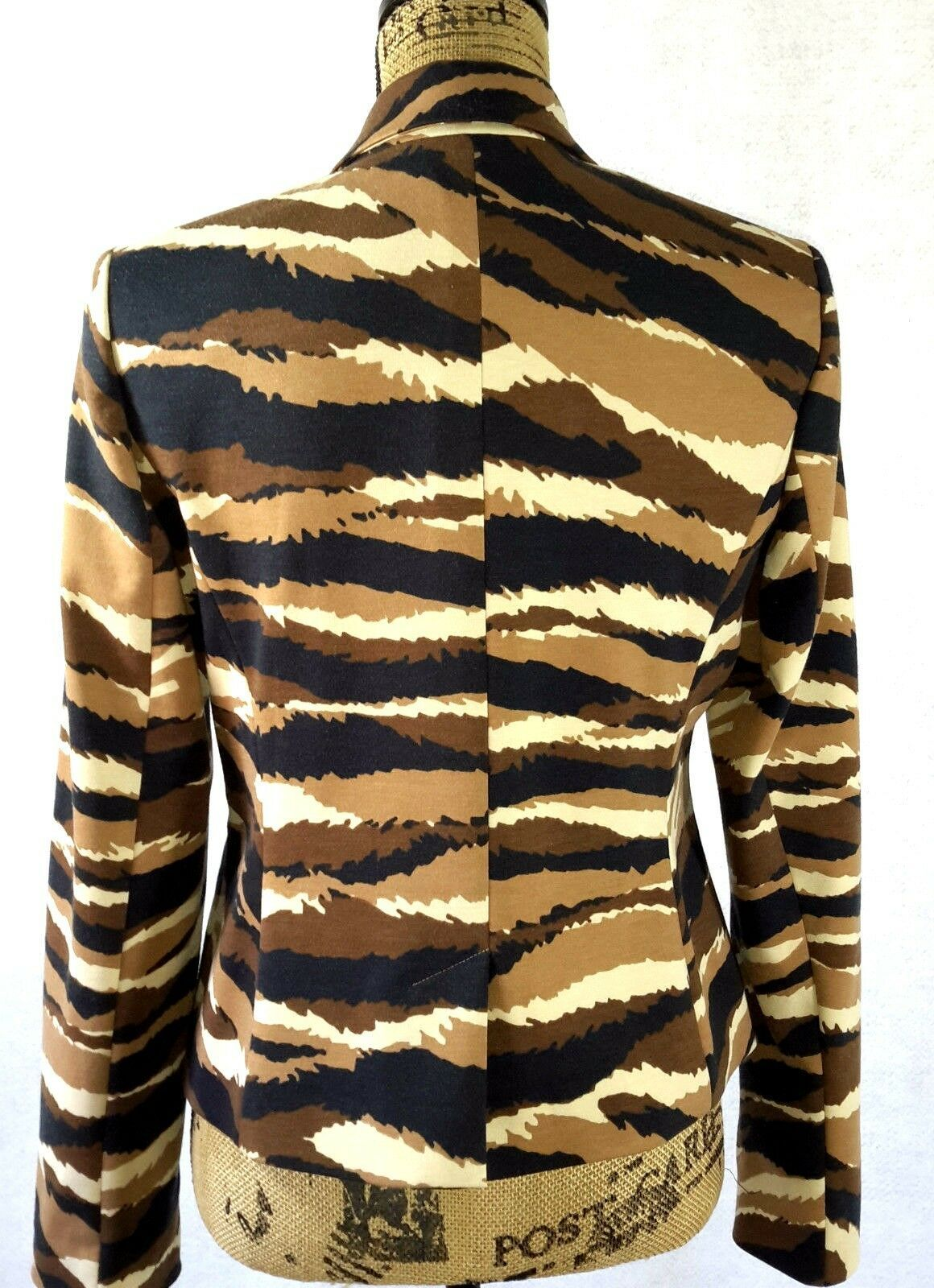 NEW Anne Klein M 6 Camel multi black brown ivory animal stripe blazer NWT $149