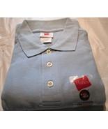 Men's Golf Shirt Hanes Short Sleeve 3XL Sky Blue 100 % Cotton Pique Knit... - $7.50