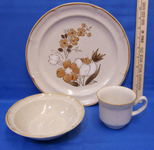 Baroque Stoneware Plate Bowl & Cup Autumn Fair Brown Flower Japan Lot of 3 - $15.83