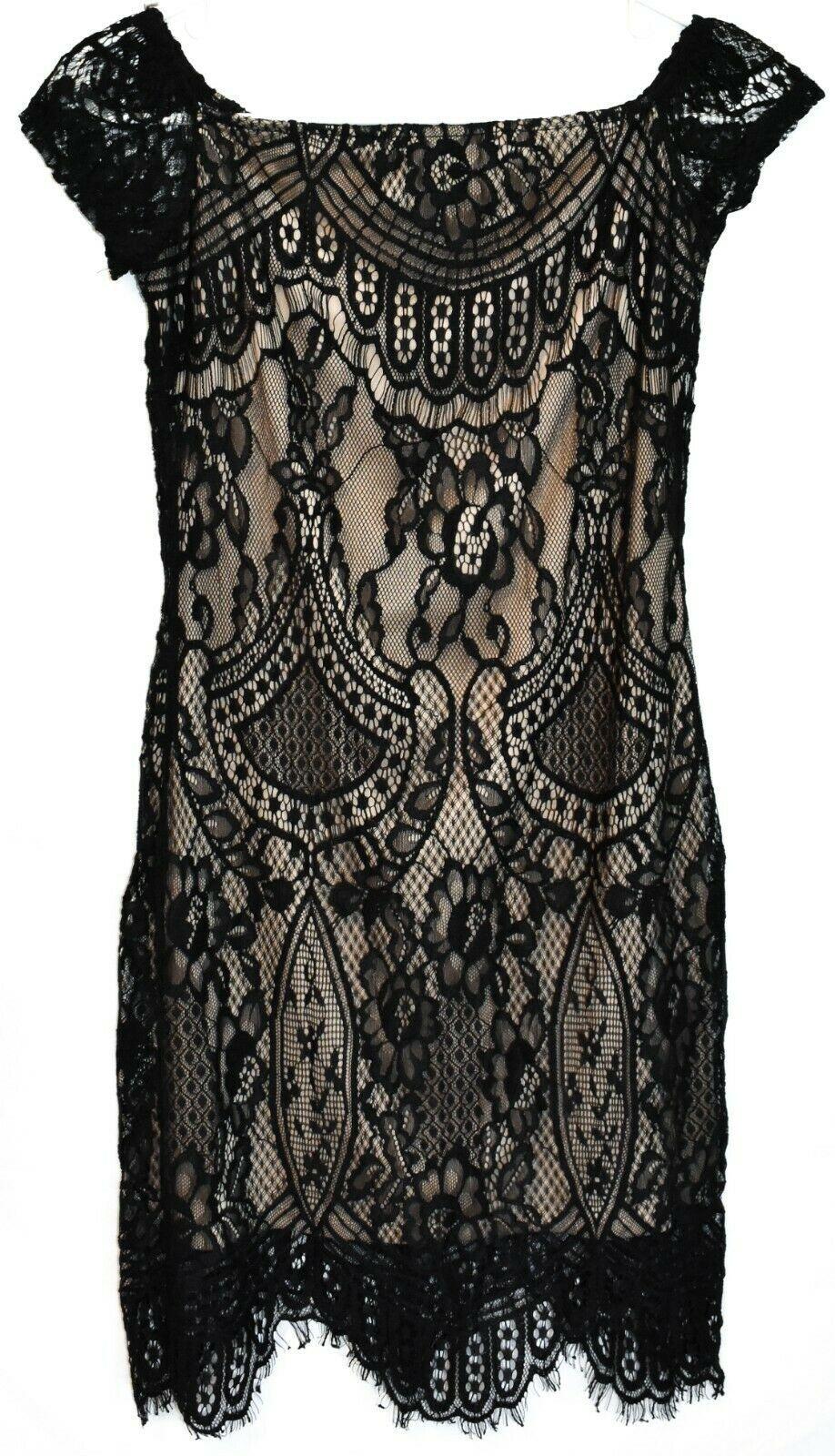 Love, Fire Women's Zip Up Black Lace Overlay Short Sleeve Dress Size S