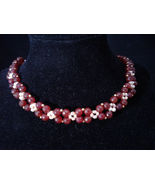 "17.5"" Beadwoven Necklace, Red Agate, Genuine Peach Pearl, Handmade, #z459 - $70.00"