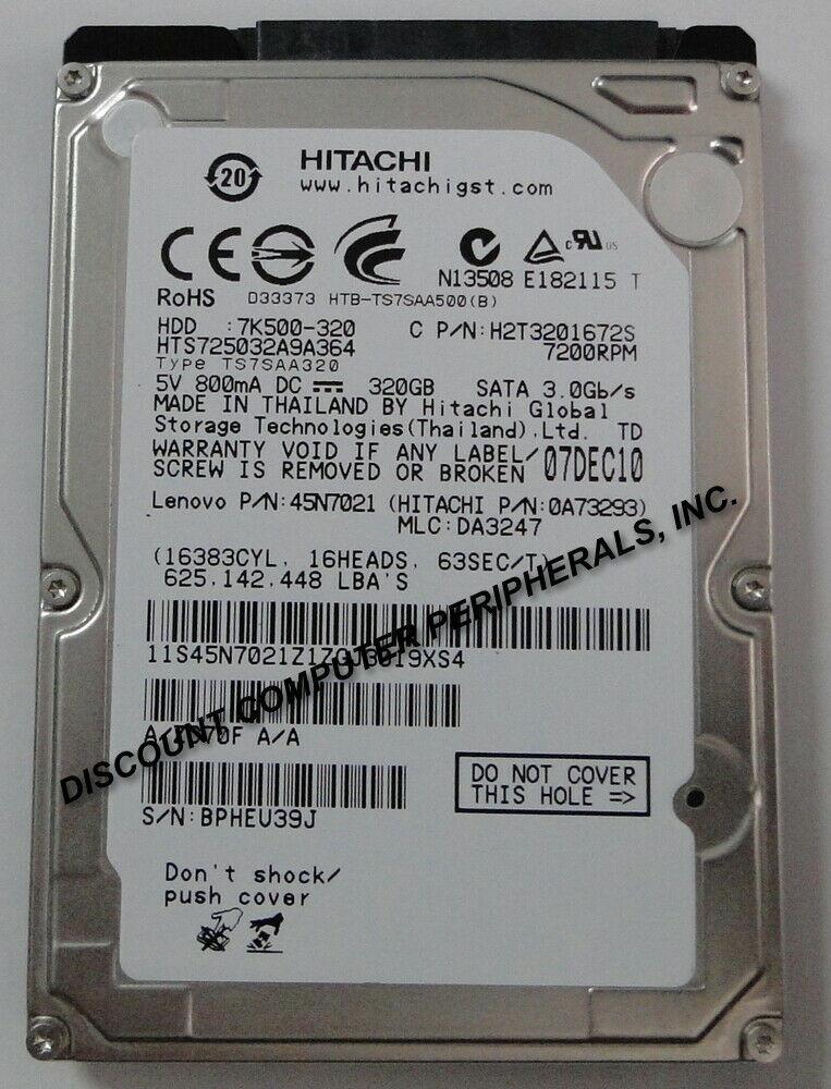 """NEW 320GB SATA II HTS725032A9A364 Hitachi 7.2K RPM 2.5"""" 9.5MM Hard Drive"""