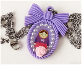 Matryoshka Doll Necklace, Resin Pendant, Stainless Steel Chain - Decoden... - $15.00