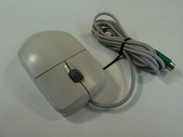 Mitsumi PS2 Scroll Wheel Ball Mouse Two Button Gray Wired ECM-S5002 - $12.77