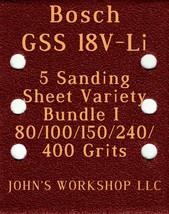 Bosch GSS 18V-Li - 80/100/150/240/400 Grits - 5 Sandpaper Variety Bundle I - $7.53