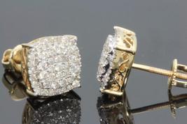 14k Yellow Gold Plated 925 Silver Women's Round Cut White CZ Fancy Stud Earrings - $80.25