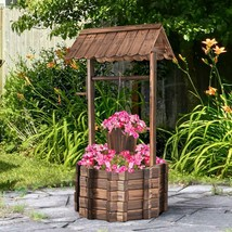 NEW Wishing Well Planter Rustic Country 2 Tier Plant Stand Wood Finish F... - $132.56