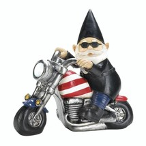 Patriotic BIKER GNOME SOLAR STATUE Black Jacket on Flag Design Motorcyle - $21.97