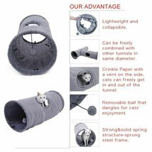 Collapsible Cat Tunnel Crinkle Kitten Play Tube For Large Cats Dogs Bunnies Toy  image 5