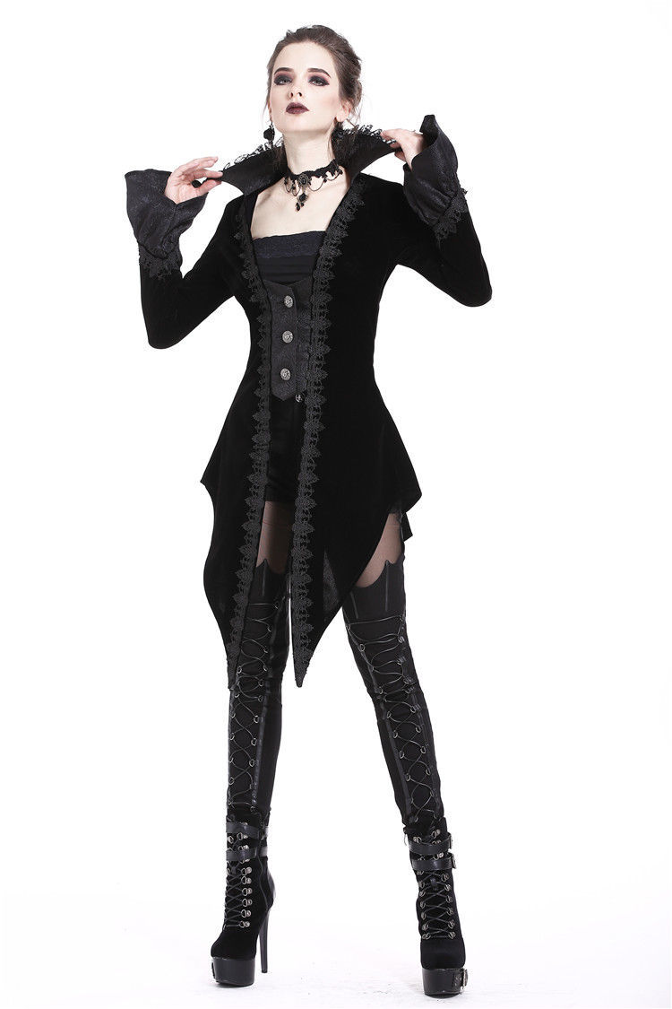 Victorian Vampire Jacket Lace Stand Up Collar Black Velvet Tailcoat Spring Fall
