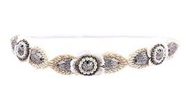 Hand-beaded Crystal Rhinestones Headband Headdress, White Feather