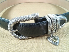 Brighton Womens Black Leather Belt Metal Buckle W/ Heart Charm Size S 43403 - $26.28