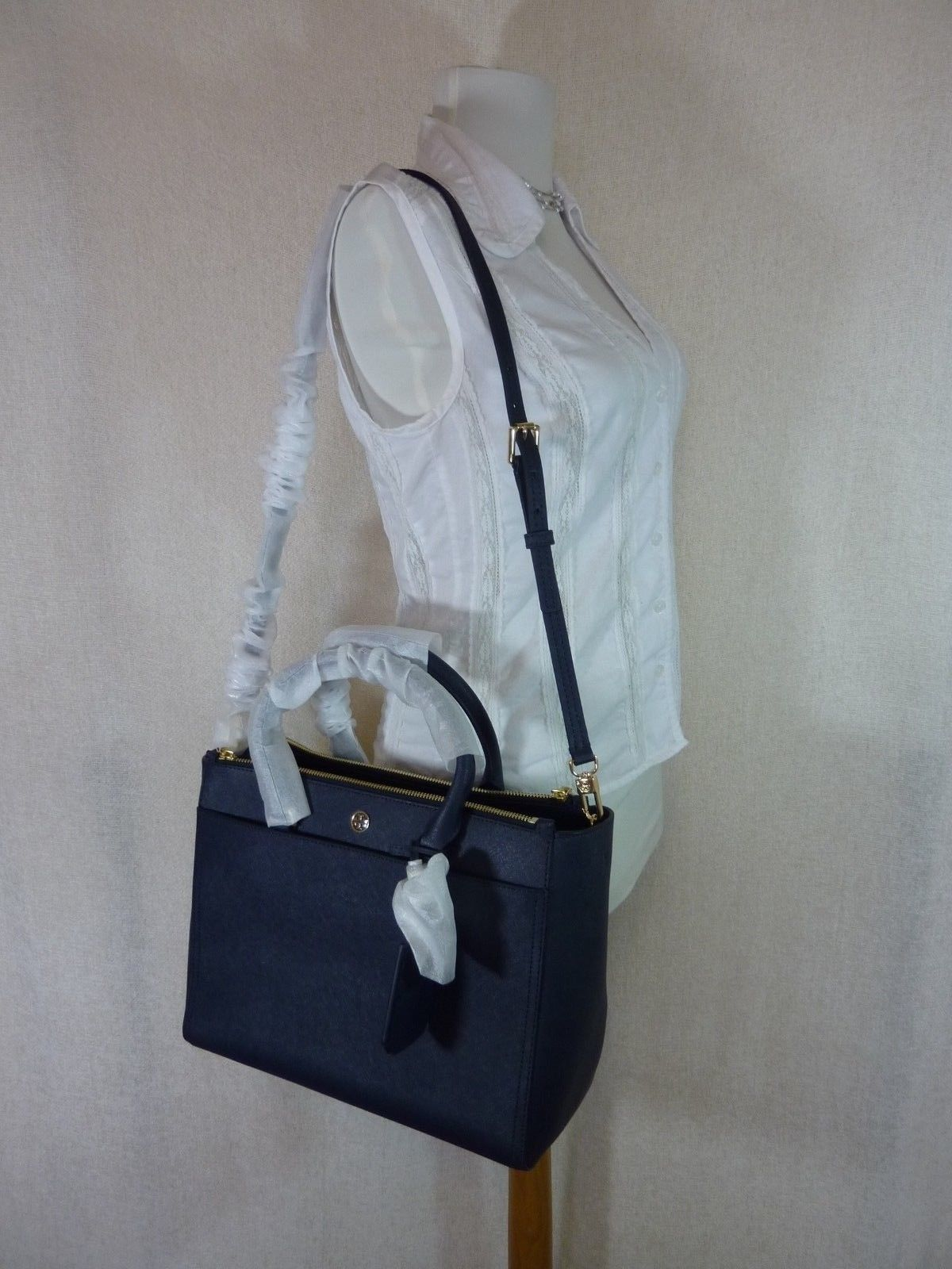 Tory Burch Navy Blue Saffiano Leather Robinson Double-Zip Tote $458 image 7