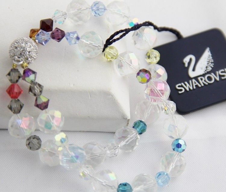 SWAROVSKI SWAN TAG Double Strand AB CRYSTAL BRACELET NEW WITH TAG Magnetic 7""