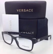 New VERSACE Eyeglasses 3198 GB1 55-17 140 Black Rectangular Frames w/Demo Lenses