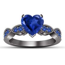 Heart Shape Blue Sapphire Womens Engagement Ring 14k Black Gold Over 925... - £54.93 GBP