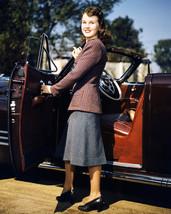 Deanna Durbin Posing with 1940's car 16x20 Canvas - $69.99