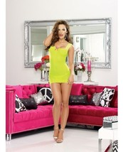 STRETCH MESH LIME CHEMISE LACE STRAP NECKLINE ADJ BACK LACE UP & THONG O... - $19.99