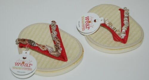 Carrie And Company 2 Coaster Set Drink Wear Red Tan Shells Sandal
