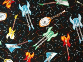 1/2yd music/colorful electric guitars/Rock Hero black quilt fabric-free shipping image 1