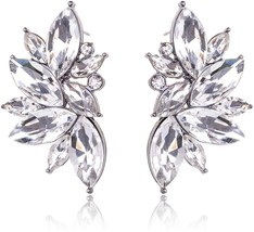 Ginasy Luxury Leaves Shape Glass Cluster Crystal Teardrop Flower Design Stud - $40.40