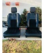 BLACK LEATHER BUCKET SEATS VANAGON HUMMER JEEP HOTROD DODGE CARAVAN SEATS - $395.01