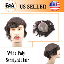 GEX Mens Toupee HairPiece Fine Mono+Wide PU APOLLO Wig Black With Gray Humanhair - $159.90