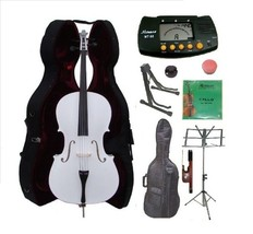 1/2 Size White Cello,Hard Case,Soft Bag,Bow,Strings,Metro Tuner,2 Stands... - $219.99