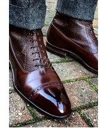 New Handmade Ankle High Brown Leather Boots For Men, Men Leather Handmad... - $169.99+