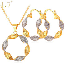 Earrings and Necklace Jewelry Set Copper Alloy Womens Fashion Silver Gol... - $16.35