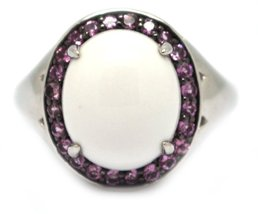 925 Silver Cabochon White Agate with Pink Topaz Ring image 2