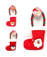 Christmas Dog Rope Pull Toy Stocking Plush Embroidered Santa Reindeer Sn... - $8.99