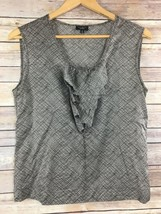 Talbots Silk Blend Shell 6 Sleeveless Tank Top Shirt Brown Crosshatch Ru... - $5.32