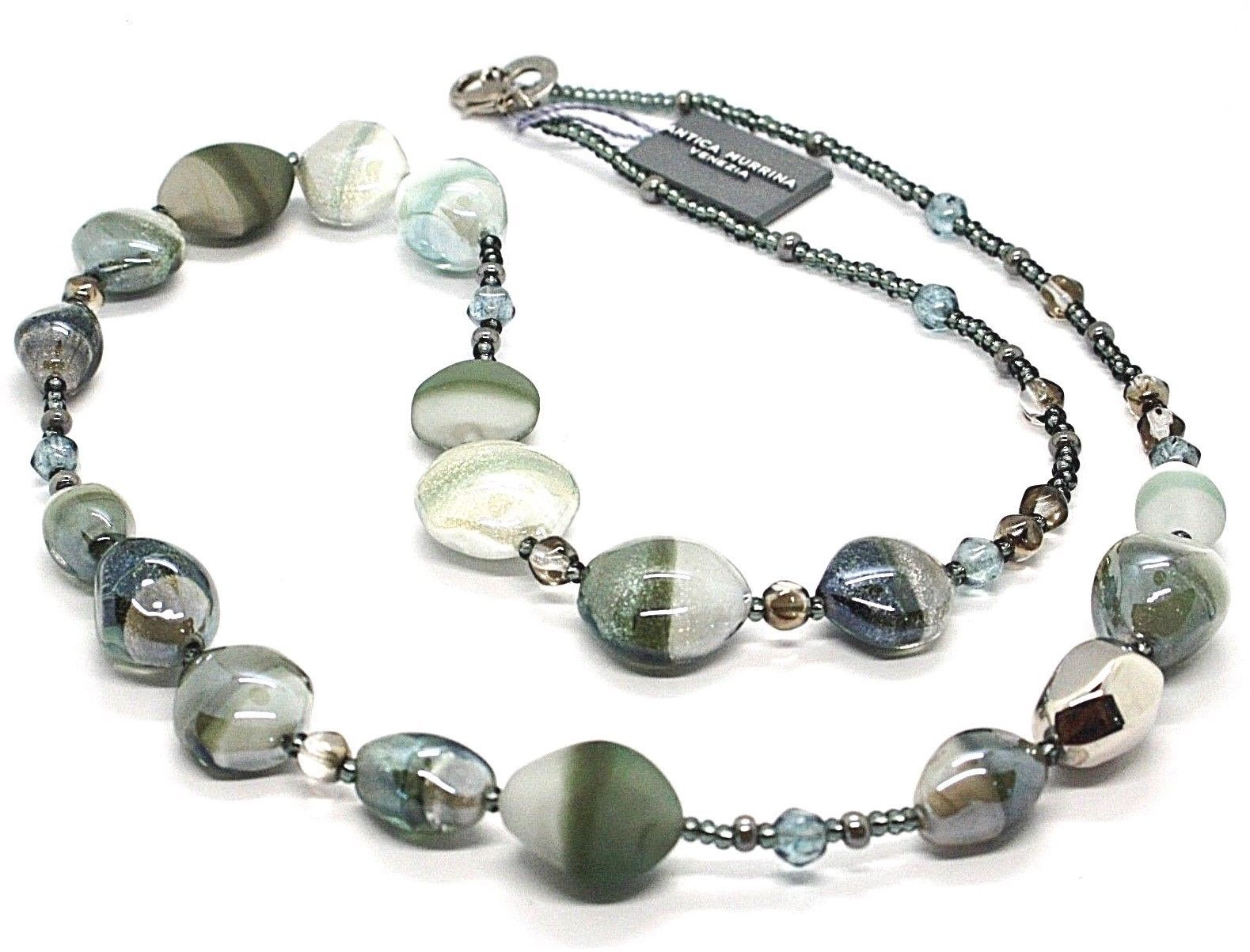 NECKLACE ANTICA MURRINA VENEZIA WITH MURANO GLASS WHITE SILVER GRAY CO979A12