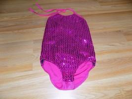 Girl's Size Medium 10 Dark Pink Dance Gymnastics Leotard Sequined Shine EUC - $18.00
