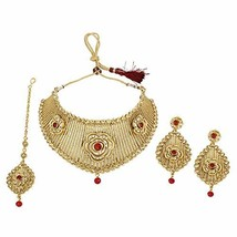 MUCH-MORE Beautiful Combination of Red Golden Stones Floral Design Fashi... - $34.24