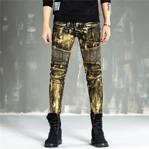 Men Fashion Paint Golden Coating Stretch Bike Jeans image 3