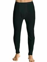 Men's Black 100% Cotton Waffle Knit Thermal Pajama Stretch Sleepwear Pants - L
