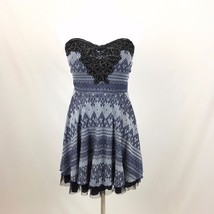 FREE PEOPLE  sweetheart neckline strapless tulle mini dress blue printed... - $27.02