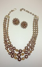 Women's Vintage 3 Strand Faux Pearl Necklace & Matching Clip On Earrings... - €7,91 EUR