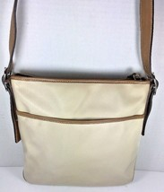 Coach Slim Beige Nylon with Brown Leather Trim Cross Body Shoulder Bag - $41.70