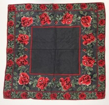 "Vera Nuemann Scarf Women's Red Roses Dark Gray Black Green White 29"" x 2... - $15.67"