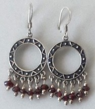 VINTAGE STERLING SILVER BOHO GARNET DANGLE EARRINGS 925 ETHNIC EXOTIC - $29.69