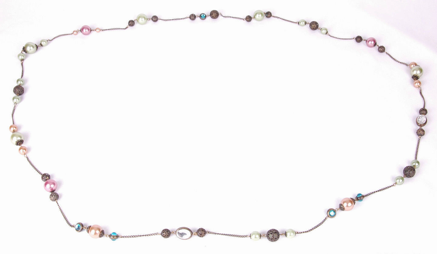 "Long Chain Necklace-Beaded Dangle Baubles Colorful-60""-Costume Jewelry"