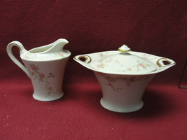 Theodore Haviland New York China - Pink Spray Pattern - Creamer & Sugar Bowl - $24.95