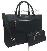 NWT MICHAEL KORS COLGATE LARGE EW TOTE BLACK NYLON LEATHER LAPTOP BAG + ... - $199.99